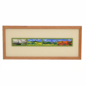 seasons fused glass panel in beautiful frame,