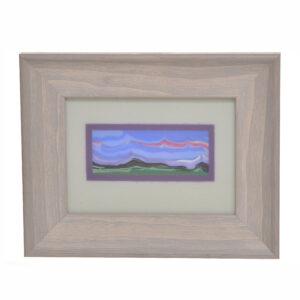 purple lavender landscape in framed fused glass