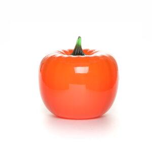 bright orange handmade blown glass pumpkin