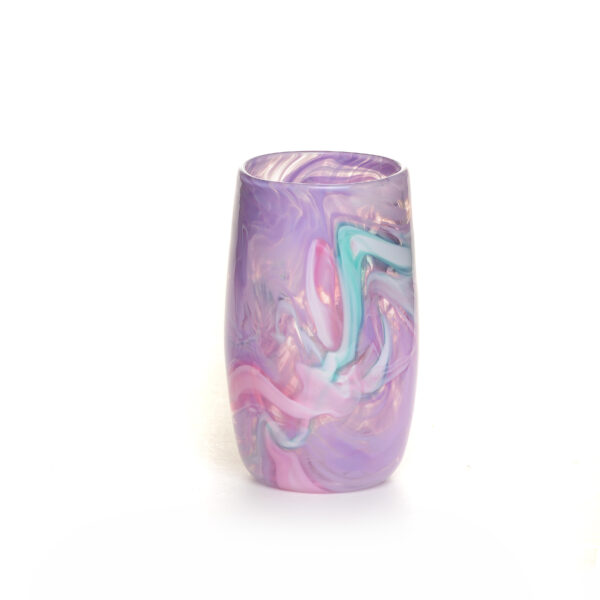 lavender glass cup with colorful swirls, asheville glass blowing, nc glass artist