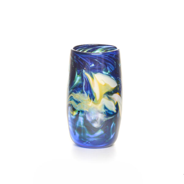 transparent cobalt blue handmade blown glass cup with colorful swirls