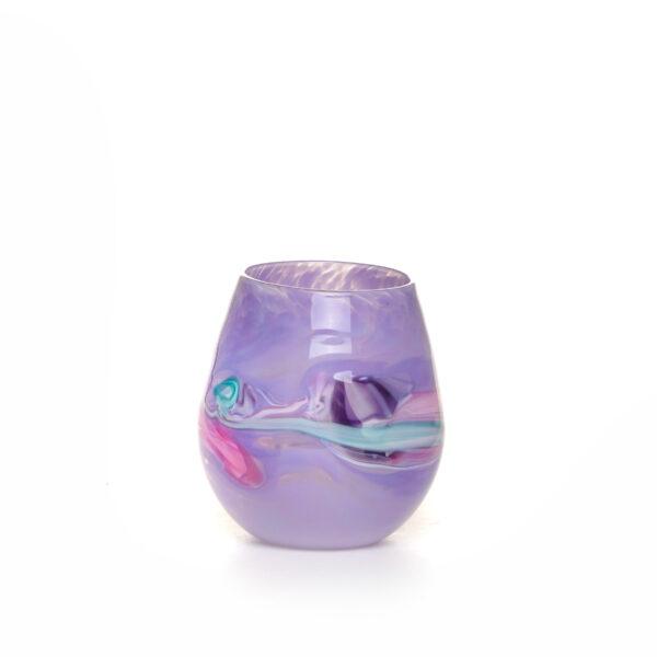 light purple handmade blown glass stemless wine glass with murini