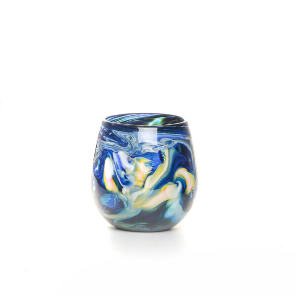 colorful dark blue handmade blown glass stemless wine glass with color swirls