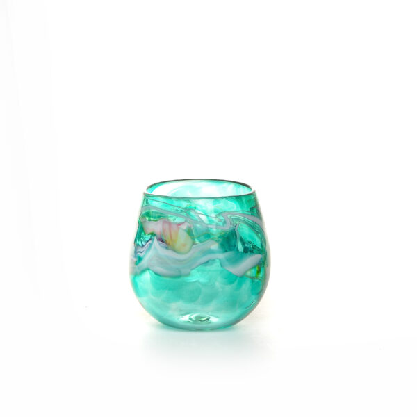 colorful teal handmade blown glass stemless wine glass with color swirls