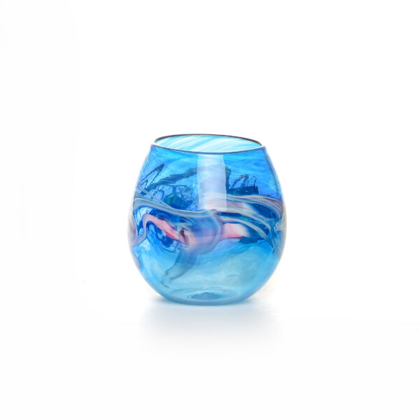colorful turquoise handmade blown glass stemless wine glass with color swirls