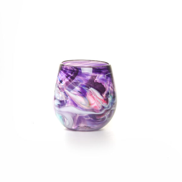 colorful purple handmade blown glass stemless wine glass with color swirls