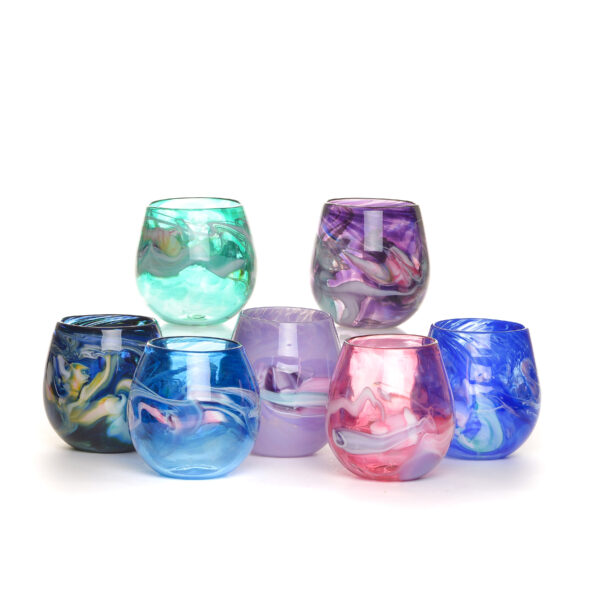 handmade blown glass colorful stemless wine glass