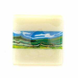 small fused glass landscape plate, summer mountain landscape fused glass plate, north carolina glass