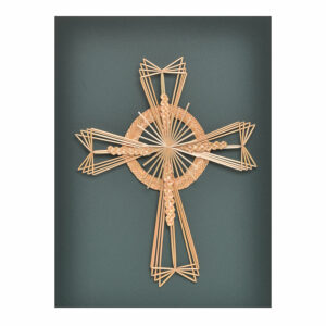 ornate woven wheat handmade cross for the wall, traditional woven wheat
