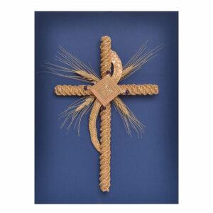 blue handmade woven wheat cross