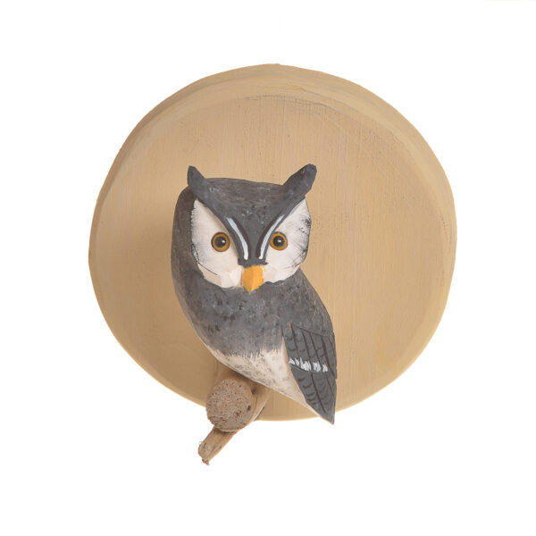 small wall hanging with carved and painted gray owl, bird widdler