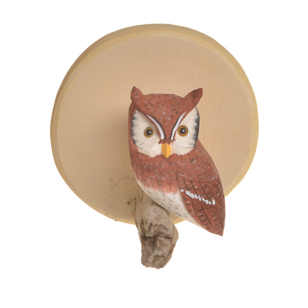 small wall hanging with carved and painted red owl, bird widdler