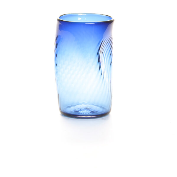 BLUE WONKY BLOWN GLASS CUP