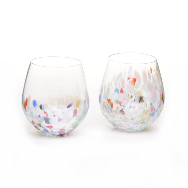 handmade blown glass stemless crystal wine glasses with rainbow color on the bottom