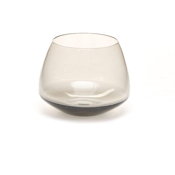 transparent gray handmade blown glass snifter cup