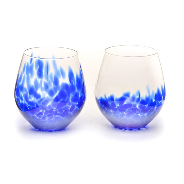 handmade glass stemless wine glasses with blue speckles