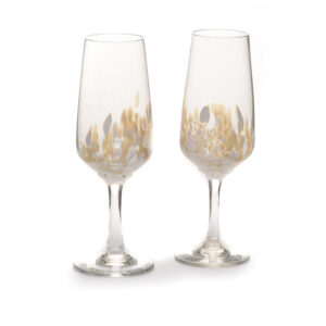 gold and silver handmade glass champagne flutes