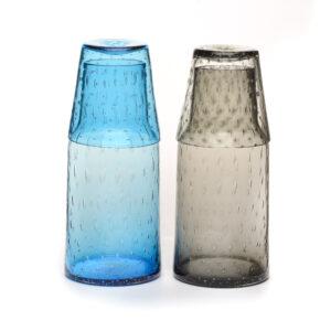 bedside carafe and glass set, handmade glass water bottle