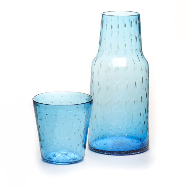 blue handmade blown glass bedside carafe and cup set