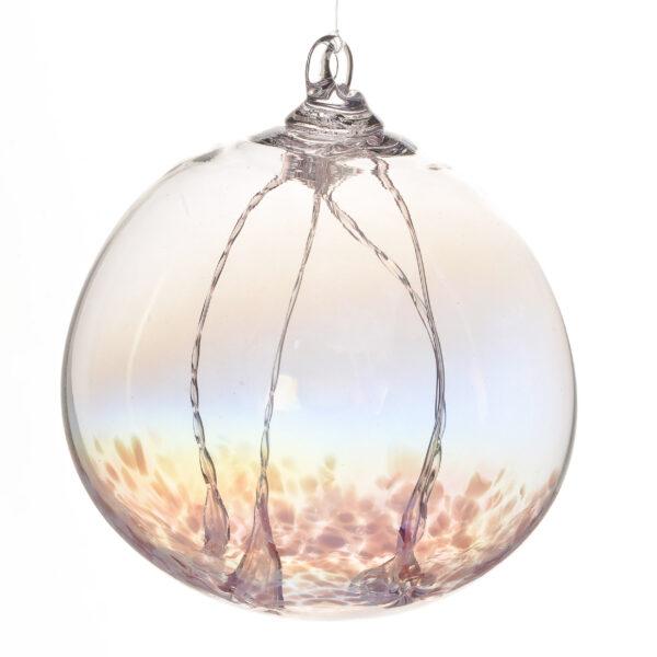 light pink handmade glass fairy witching ball, handmade housewarming gift