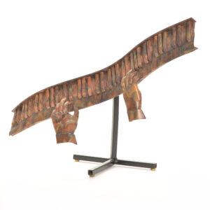handmade metal piano sculpture, jazz art, new orleans sculpture