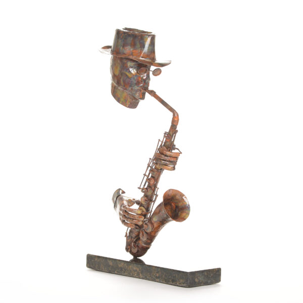 copper musical saxophone sculpture, jazz art, new orleans music sculpture