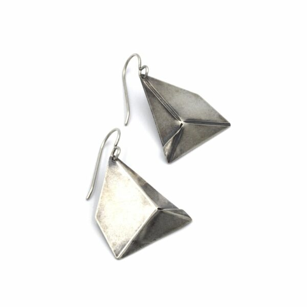 hand formed sterling silver geometric polygon earrings