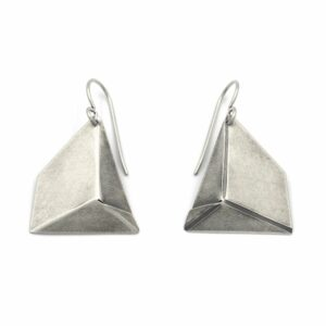 formed silver geometric handmade earrings, nc jewelry