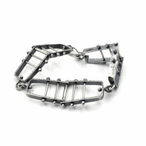 forged sterling silver oxidized kinetic bracelet, asheville jeweler