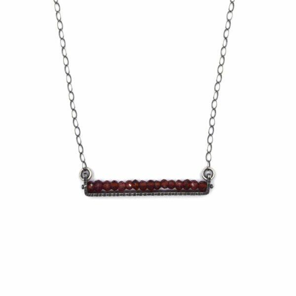 garnet and silver handmade necklace, everyday garnet and silver necklace, nc jewelery, erica stankwytch bailey
