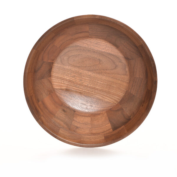 bottom view of segmented wooden black walnut bowl