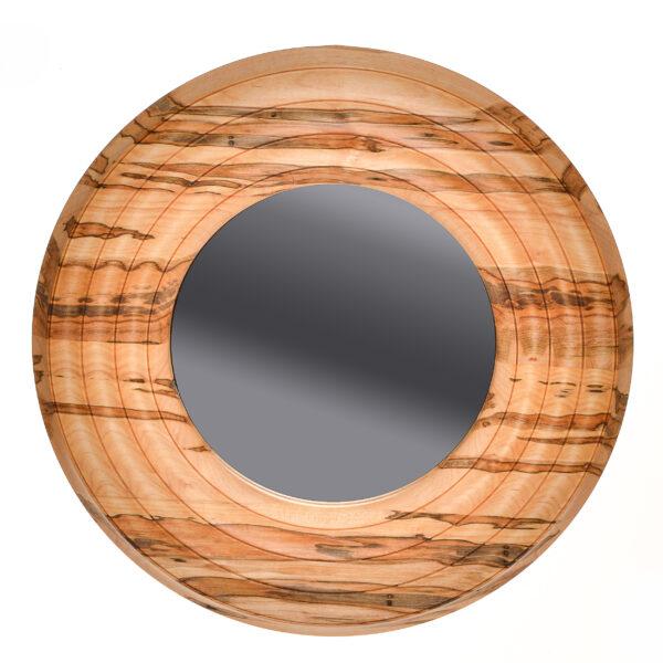 ambrosia maple handmade turned round wall mirror