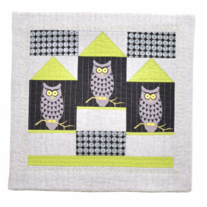 white and black owl handmade walk hanging quilt