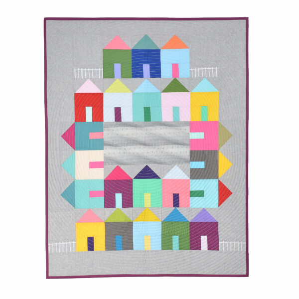 neighborhood courtyard handmade wall hanging quilt