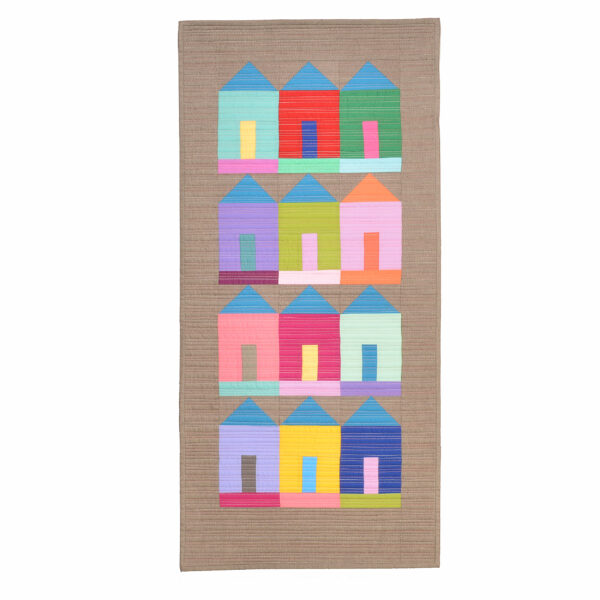 handmade traditional quilt wall hanging with houses