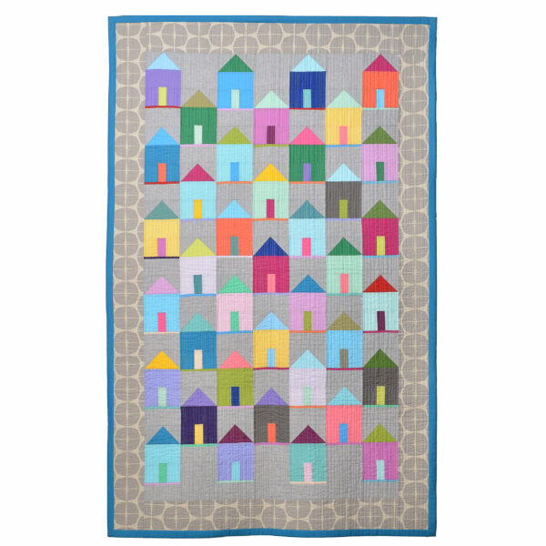 handmade quilt with house in a rainbow of colors and gray border