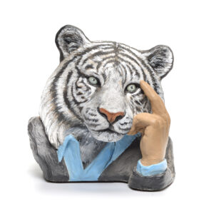 clay sculpture of a white tiger in a suit,