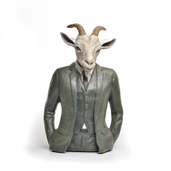 handmade ceramic painted goat sculpture wearing a suit
