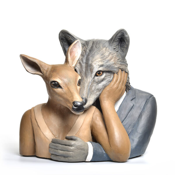 deer and wolf ceramic sculptor, handpainted animal play