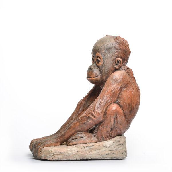 orangutan ceramic sculpture, handbuilt and painted monkey sculpture