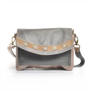 handmade leather crossbody bag with embellishments