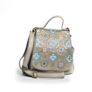 handmade leather tote with large flap with geometric designs