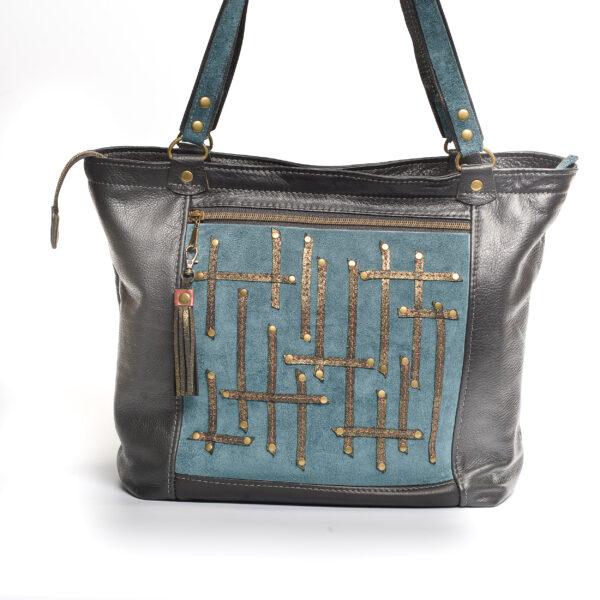 handmade dark gray and blue leather handmade bag