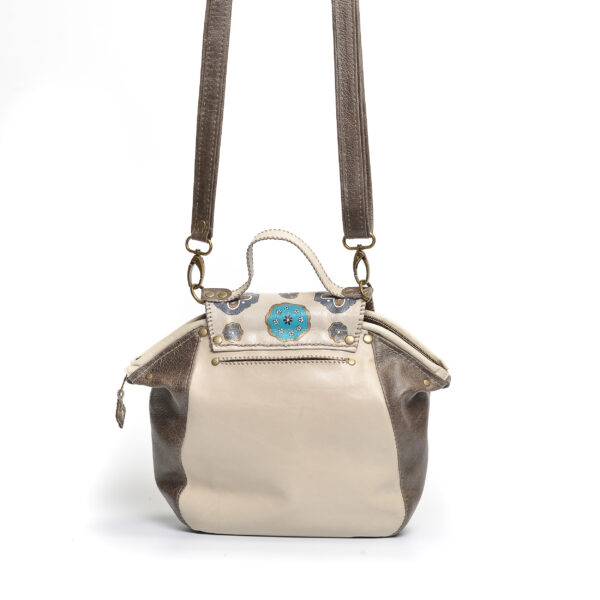 handmade leather crossbody bag in tan and teal