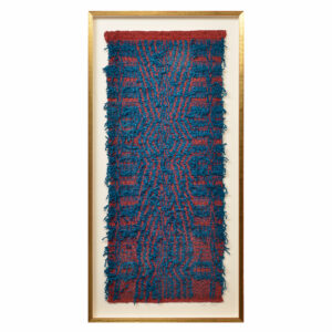 blue and red woven framed textile