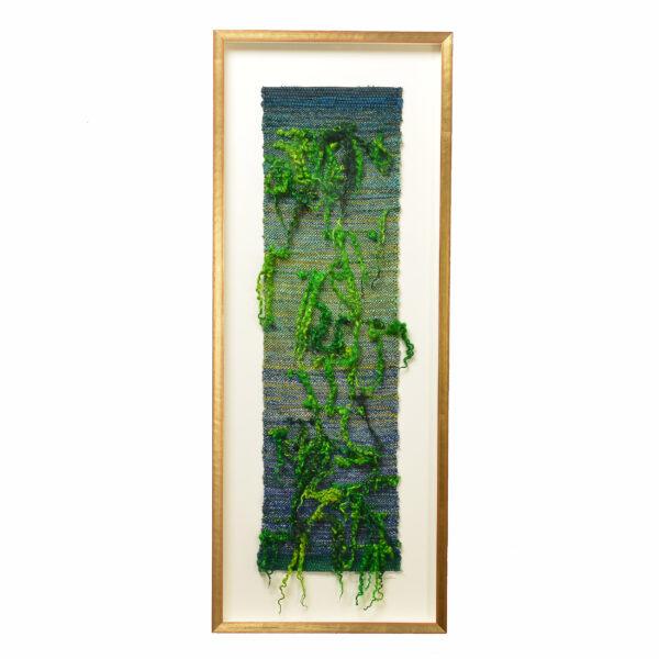 green and blue framed woven fiber