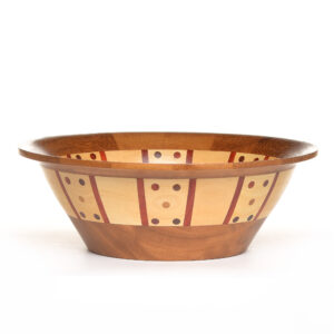 handmade wooden large bowl with iroka, maple, and purple heart