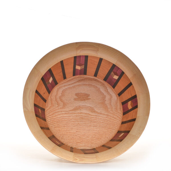 oak segmented bowl with cubes made of purple heart and cherry