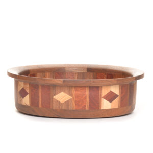 wide bottom segmented wood bowl with diamonds