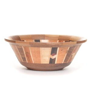 black walnut turned segmented bowl with cubes